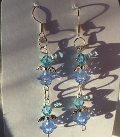 HC Blue Crystals and Flowers Double Angel by SouthernWomenCrafts