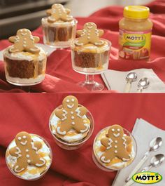 This amazing (and easy) gingerbread cups recipe is perfect for the holidays. You can help save some calories during dessert by replacing cooking oil with Mott's Applesauce. No Bake Treats, Cooking Oil, Bon Appetit, Gingerbread, Cheesecake, Goodies, Cups, Pudding, Holidays