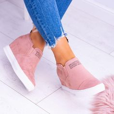 Fashion Letter Slip On Wedge Sneakers Faux Suede in 2019  19aa93fc552