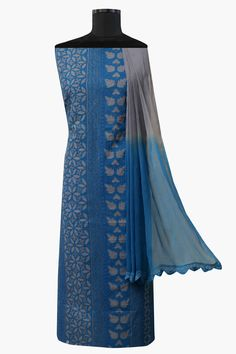 Ada #handembroidered #blue  #cotton #lucknowi #chikankari  Unstitched Suit Piece – A579265