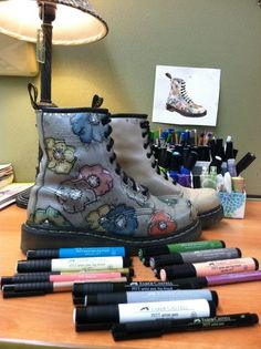 Doc Martens boots  embellished with Faber Castell Pitt Artist Pens in Metallic and super fine black along with Big Brush Stampers Pens #altered #upcycled