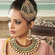 Stunning set in  22 kt gold and Polki  and pearls and precious stones by Zeba's Jewels contact me at zebamasoodk@gmail.com