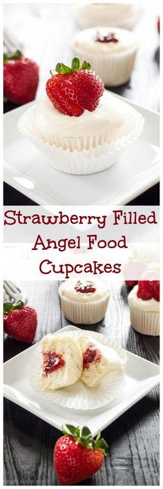 Strawberry Filled Angel Food Cupcakes | Angel food cupcakes filled with…
