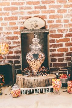Rustic country wedding candy buffet