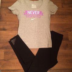 NIKE ✔️ shirt small and legging yoga pants studs NIKE ✔️ tee shirt small and a pair of legging yoga pants with studds on the bottom. Perfect condition. Nike Pants Leggings
