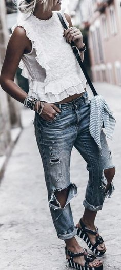 #summer #adorable #outfits | Ruffles + Denim + Stripes
