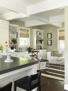 "C2- Vex (C2-427) A full spectrum paint color, Vex is simultaneously warm and cool. This elegant green-grey softly washes over you, like gazing through water at river stones. A C2 Paint favorite. Similar to Benjamin Moore's ""lily pad""  oooh nice green with the dark floors and the white"