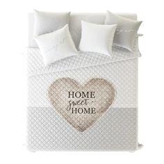 Prehoz cez posteľ 200x220 DOMOV LÁSKY, SRDCA, BÉŽOVÁ Bed Pillows, Pillow Cases, Pillows