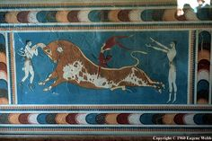 Knossos, Crete. The original is a wall painting in the palace of Knossos, rediscovered at the beginning of the 20th century through the work of the British archaeologist Arthur Evans. The Minoan civilization was a Bronze Age civilization that arose on the island of Crete and flourished from approxi-mately 2800 BC to 1600 BC.