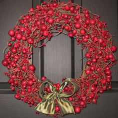 Berry Wreath - Red Front Door Wreath -  Removable Bow. via Etsy.