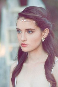 Boho Forehead Bands & Beautiful Halo Crowns. This model is stunning! | Bridal Style see more at http://www.wantthatwedding.co.uk/2014/11/04/boho-forehead-bands-halo-crowns/