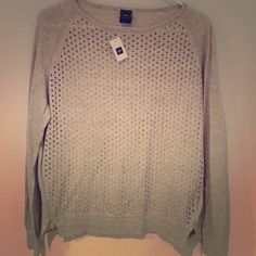 NWT Gap sweater heather gray size xs Perforated front and solid in back. Great with a camisole underneath. Never even been tried on. Brand spanking new folks!!! GAP Sweaters Crew & Scoop Necks