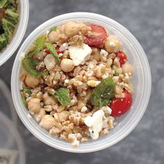 Mediterranean flavors shine in this salad. Salty feta, refreshing mint, and nutty farro and chickpeas combine with pungent lemon and red onion.