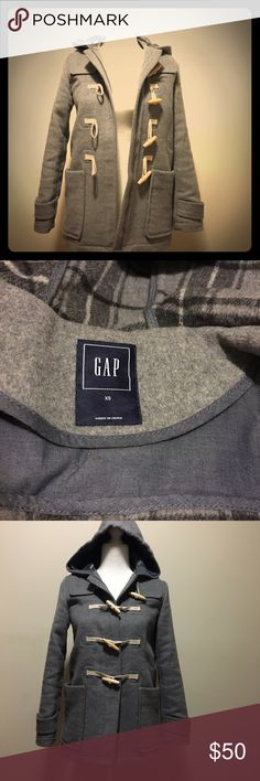 🌦Gap wool hooded coat🌨 Wooden button with zip as well. Very warm and great condition. Gently used. Comes with two deep pockets in front that can fit Iphone plus. GAP Jackets & Coats