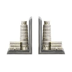 Elements White Resin Leaning Tower of Pisa Bookends (Set of 2)