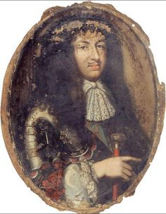Louis XIV, peinture anonyme du XVIIe siècle Cette huile sur toile peu connu mais remarquable est en fait un élément de dessus-de-porte, alcôve de la chambre d'une maison située autrefois au 38, rue des Bernardins.