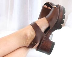 70s wood platform sandals size 9M exaggerated chunky by atVintage, $46.00
