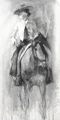 Spanish Elegance - Study by Sally Martin Mixed Media ~ 11 x 21