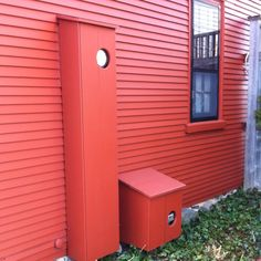Boxes with hinged covers to hide unsightly utility boxes, meters, etc. Holes cut out for easy meter reading.