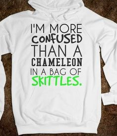 Confused Chameleon with Skittles Hoodie Sweatshirt