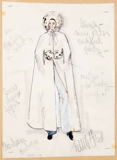 Edith Head sketch for Elizabeth Taylor in Ash Wednesday (1973)