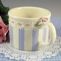 Blue Striped Mug by RomancingTheTeapot on Etsy, $29.95