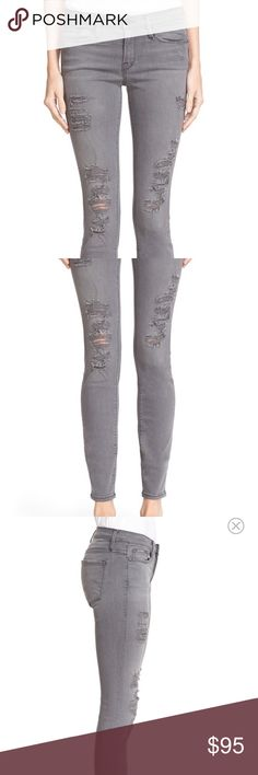 FRAME Le Skinny de Jeanne Favorite of celebs and bloggers everywhere, Frame jeans fit amazing! Grey shred on the front, super soft denim. Size 29. Worn ONCE! Frame Denim Jeans Skinny