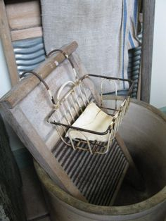 Scrub boards and old wire soap dish - HighButtonShoe farmhouse.  My grandmother used one of these.  It was always right next to her wringer washer.