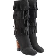 Burberry Shoes & Accessories Fringed Suede Knee Boots (1 817 AUD) ❤ liked on Polyvore featuring shoes, boots, black, knee-high fringe boots, round toe boots, zipper boots, knee high boots and black boots