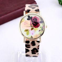 Ceas Rose cu model animal print - Lune.ro Fashion 2016, Watches, Leather, Clocks, Clock