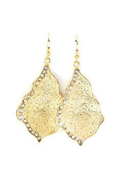 Textured Crystal Raeleen Earrings in Gold