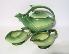 McCoy Pottery TWO TONE GREEN TEA SET VINTAGE 50'S