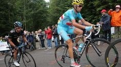 """""""He [Nibali] is in great shape as his attack and victory showed"""": Australia's Richie Porte (left) attempts to follows Italy's Vincenzo Nibal...  Stage 10, 2014 Tour de France"""