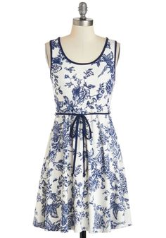 Ceramics It Up Dress - Mid-length, Blue, Floral, Belted, Casual, A-line, Tank top (2 thick straps), Scoop, White, Print