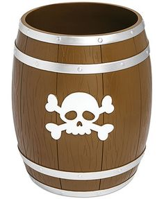Kassatex Bath Accessories, Pirates Trash Can