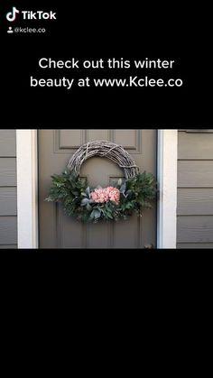 Diy Wreath, Door Wreaths, Grapevine Wreath, Pink Christmas, Christmas Time, Christmas Wreaths, For Sale Sign, Winter Beauty, Pink Love