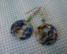 Earrings, Polymer Clay Earrings, Handmade, Turquoise, Green, Gold, Blue - Oceana Series