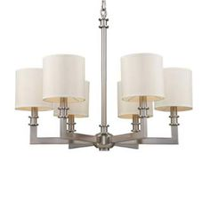 """View the Elk Lighting 20155/6 23"""" Height 6 Light 1 Tier Candelabra Style Chandelier with a Drum Shade from the Seven Springs Collection at Build.com."""