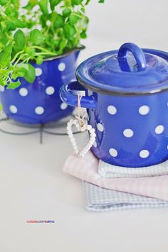 white and blue table - those polka dots are so adorable and perky!