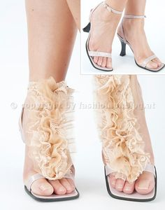 Accessorize your simple strappy sandals with this lacy ruffles! I love this DIY shoe reinvention! This is so classy!