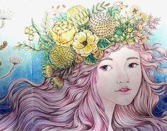 신비한 숲속 도서관  얼굴 close up 얼굴이 조금 찢어졌다ㅜㅜ 아들이 펼쳐놓고 놀던데..  #신비한숲속도서관#박은지작가#현암사#컬러링북#coloringbook#coloring#coloredpencil#themysteriouslibrary