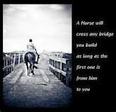 """""""A horse will cross any bridge you build as long as the first one is from him to you."""""""