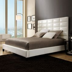 White Upholstered Panel Bed Queen Size Faux Leather Headboard Modern Style Beds  #KingstownHome #Modern