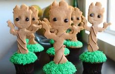 DIY, How to make These Adorable Dancing Baby Groot Cupcakes. Really easy to make.