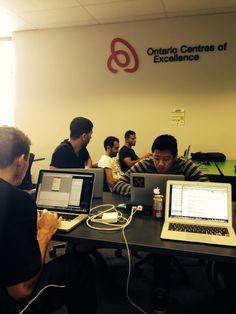 The Campusgrids Team working at Ottawa's Startup Garage