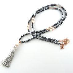 Sparkling Hematite Tassel Necklace at www.unicumjewelry.com