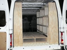 van fitout - Google Search Van Storage, Truck Storage, Tool Storage, Van Shelving, Shelves, Van Racking, Truck Tools, Mobile Office, Trailer Build