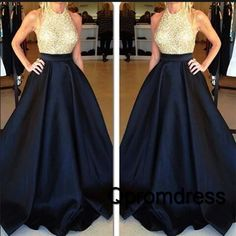 Modest prom dress, ball gown, elegant dark blue sequins junoesque prom dress for teens