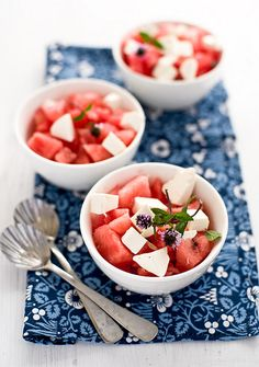Gorgeously hued, summery, juicy Watermelon Salad (I love adding red onions or scallions to this mix )