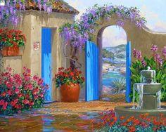 For Love to Art: The amazing telendo of the artist Mikki Senkarik. Santa Fe Style, Southwest Art, Garden Painting, Pictures To Paint, Beautiful Paintings, Modern Art, Garden Design, Greece, Scenery